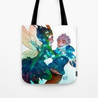 jack frost Tote Bags featuring Jack Frost & Toothina by Kiome-Yasha