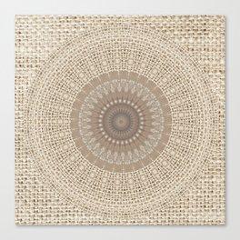 Unique Texture Taupe Burlap Mandala Design Canvas Print