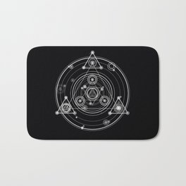 Sacred geometry black and white geometric art Bath Mat