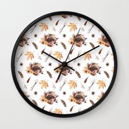 Cute brown pink orange yellow watercolor hedgehogs fall leaves Wall Clock