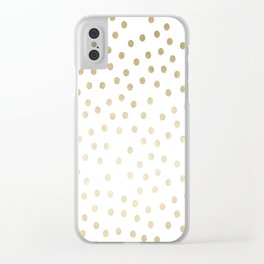 Stylish Gold Polka Dots Clear iPhone Case