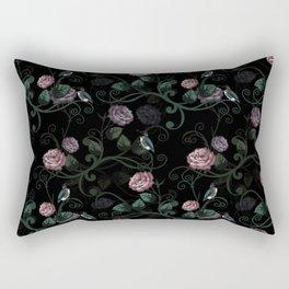 Hummingbird Vines Dark Floral Rectangular Pillow