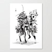 samurai Canvas Prints featuring Samurai! by HELLLOJOJO