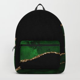 Green & Gold Agate Texture 04 Backpack
