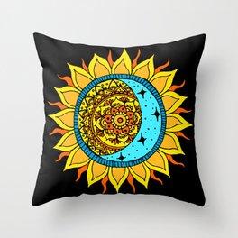 Sun and Moon Mandala Throw Pillow