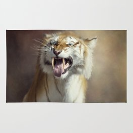 Sabertooth tiger portrait.Digital art Rug