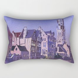 Belfry of Bruges  medieval bell tower in the centre of Bruges, Belgium.  Watercolor painting of Bruges. Rectangular Pillow