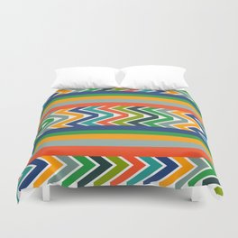 Multicolored stripes and waves Duvet Cover