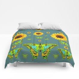 SUNFLOWERS & GREEN MOTHS ABSTRACT ART Comforters