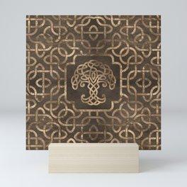 Tree of life -Yggdrasil on Celtic Pattern Mini Art Print