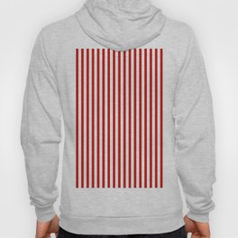Red & White Maritime Vertical Small Stripes - Mix & Match with Simplicity of Life Hoody