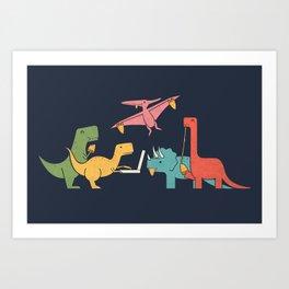 Dino Pizza Art Print