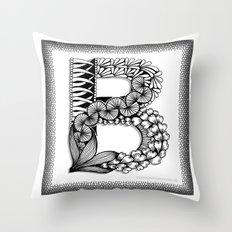 Zentangle B Monogram Alphabet Illustration Throw Pillow