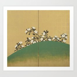 Camelias - Japanese Edo Period 2-Panel Screen Art Print