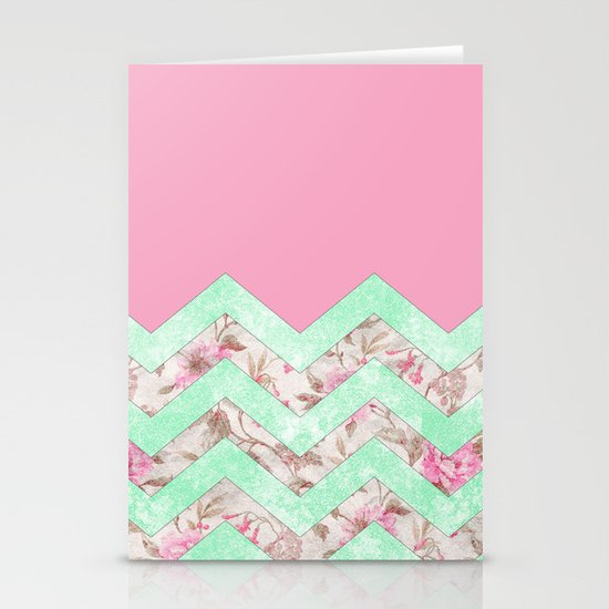 Girly Mint Green Pink Floral Block Chevron Pattern Stationery Cards