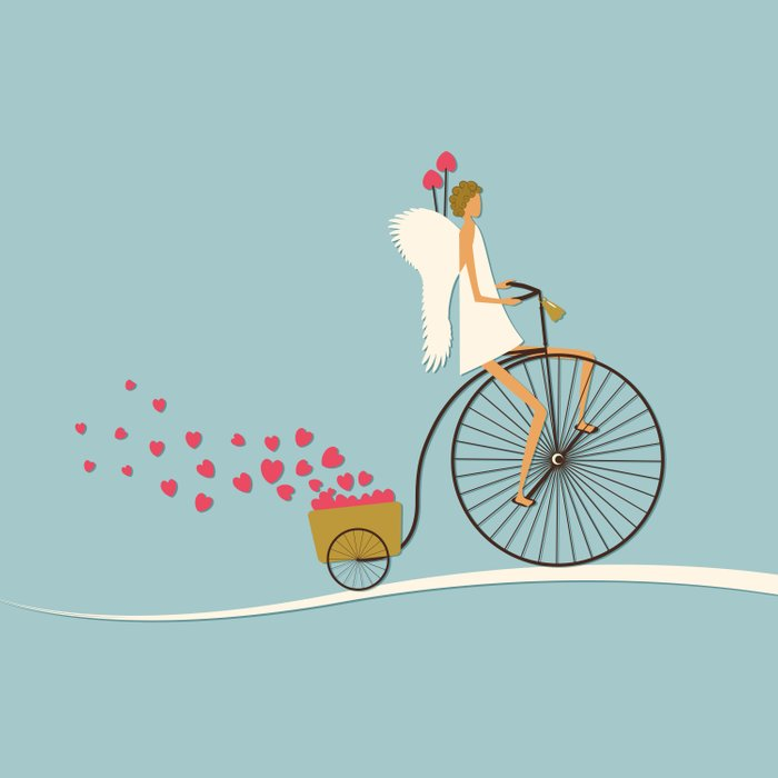 Love Delivery. Cupid on the bike, retro style design Duvet Cover