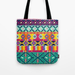 Seamless colorful aztec pattern with birds Tote Bag