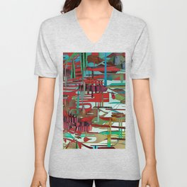 Red Delicious- Abstract Fantasy Decoupage  Unisex V-Neck