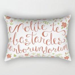 Don't Let the Bastards Grind You Down - Orange Floral Rectangular Pillow