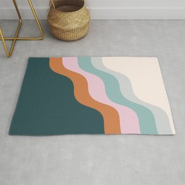 Abstract Diagonal Waves in Teal, Terracotta, and Pink Rug
