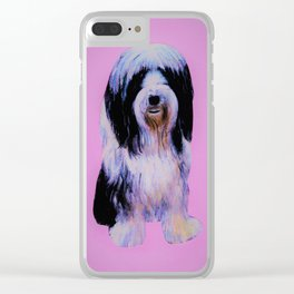 Bearded collie on pink Clear iPhone Case