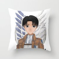 levi Throw Pillows featuring Levi Rivaille by Larkee Beatz
