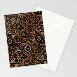Chocolate Brown Paisley Pattern Stationery Cards
