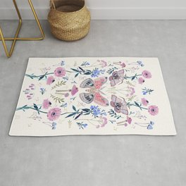Lilac Butterfly and Flowers Rug