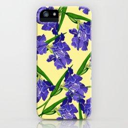 Watercolour Iris on Yellow iPhone Case
