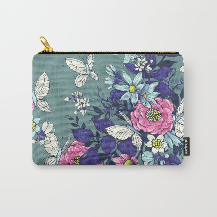 Thea's Garden - in teal tones Carry-All Pouch