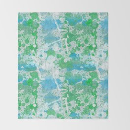 Abstract Paint Splatters Blue and Green Throw Blanket