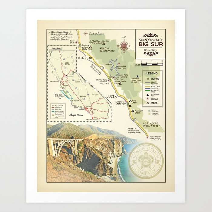 Bixby Bridge [vintage inspired] Big Sur Area Map Art Print by  kokuadesigncompany