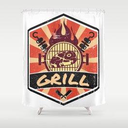 Barbecue BBQ Propaganda Shower Curtain