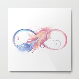 Infinity Symbol with Pink Feather Metal Print