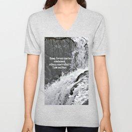 Englishman River Falls and Poem Unisex V-Neck