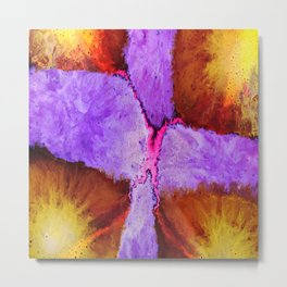 Beautiful abstract art of colorful fluid paint Metal Print