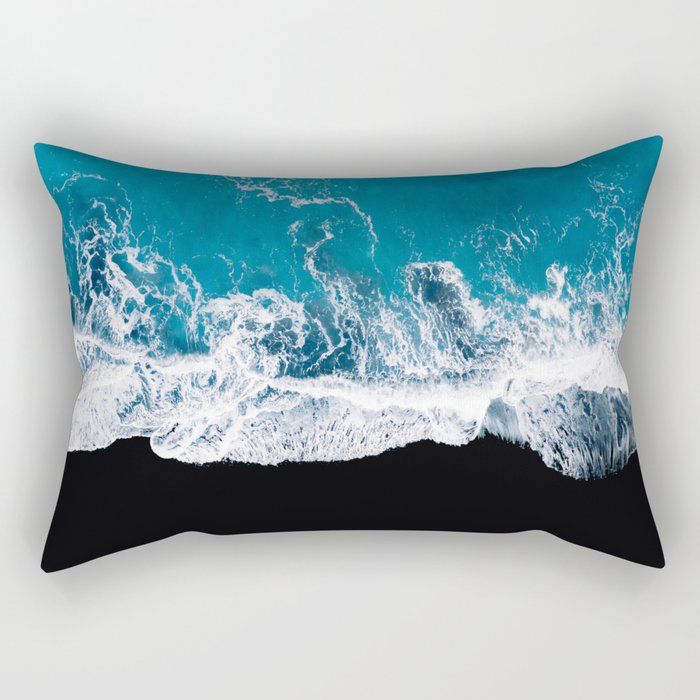 Black sand beach with waves and blue Ocean in Iceland – Minimal Photography Rectangular Pillow