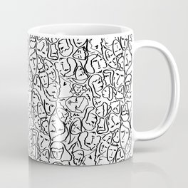 Elio's Shirt Faces in Black Outlines on White Coffee Mug