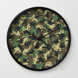 Ice Hockey Player Camo Woodland Forest Camouflage Pattern Wall Clock