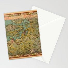 Map Of Washington 1930 Stationery Cards