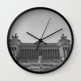 Black & white photo, Victor Emmanuel II Monument, Altar of the Fatherland, Rome photography Wall Clock