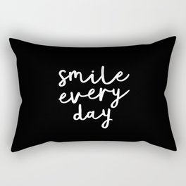 Smile Every Day black and white contemporary minimalism typography design home wall decor bedroom Rectangular Pillow