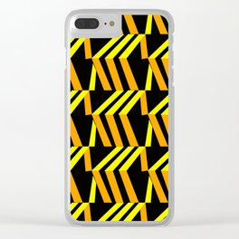 3d asymmetrical yellow and orange boxes Clear iPhone Case