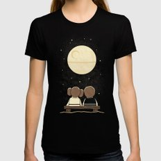 Moon Gazing LARGE Black Womens Fitted Tee