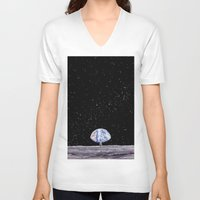 neil gaiman V-neck T-shirts featuring Neil Armstrong by Enrico Barin Guarise