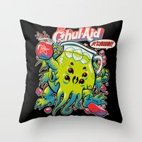 tumblr Throw Pillows featuring CTHUL-AID by BeastWreck