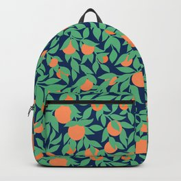Oranges and Leaves Pattern - Navy Blue Backpack