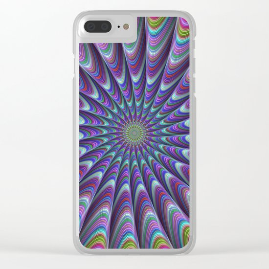 Twisted fractal sun Clear iPhone Case