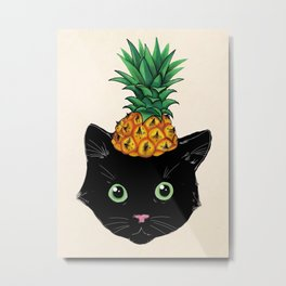 Pineapple Kitty Metal Print