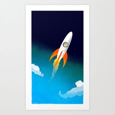 Rocket to the stars! Art Print